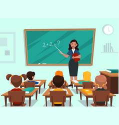 students in classroom teacher near blackboard in vector image
