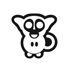 Stylish black and white icon little monkey vector