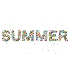 Summer word consisting of colored particles vector
