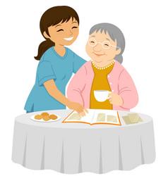 supportive eldercare vector image