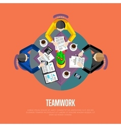 Teamwork concept top view workspace background vector
