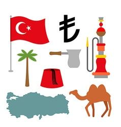 Turkey symbol set Turkish national icon State vector image
