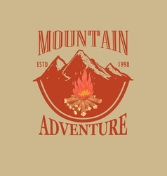 vintage mountain landscape with campfire vector image