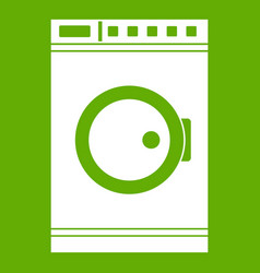 Washing machine icon green vector