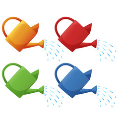 Watering cans in four colors vector