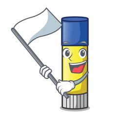 With flag cute cartoon on glue stick vector