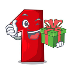 with gift cartoon the number one for champion vector image