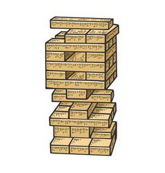 Wooden block tower game sketch engraving vector