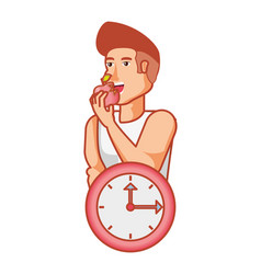 young athletic man eating apple with clock vector image
