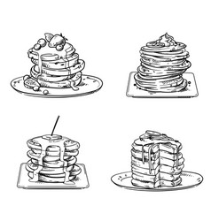 yummy pancakes with toppings sketch vector image