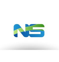 blue green ns n s alphabet letter logo vector image vector image