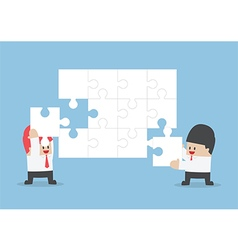 Businessman help each other to assemble blank jigs vector image