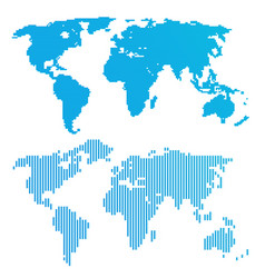 line blue world map vector image vector image