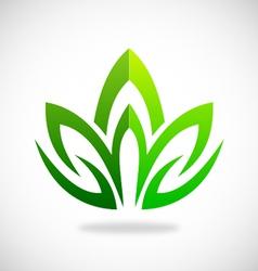 lotus green swirl logo vector image vector image