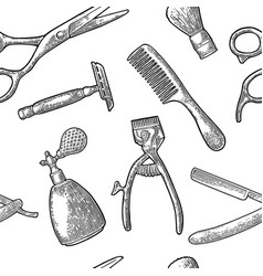 seamless pattern set tool for barbershop vector image vector image