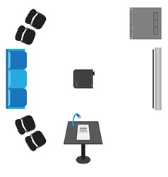 set of icons for presentation - top view sofa vector image vector image