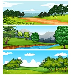 Three nature scenes with fields and trees vector image vector image