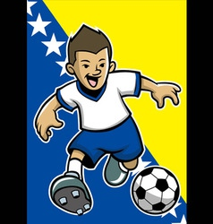 bosnia and herzegovina soccer player with flag vector image