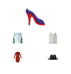 flat icon clothes set of clothes singlet heeled vector image vector image