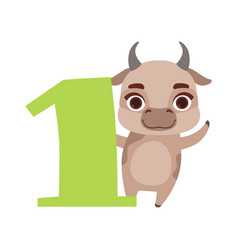 funny cute cow animal and number one birthday vector image