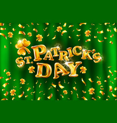 happy st patricks day on green curtain background vector image vector image