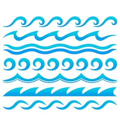 Water waves design elements set vector image