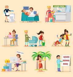 colorful woman lifestyle characters set vector image vector image