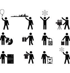 People holding stuff vector