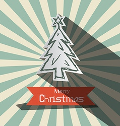 Retro Christmas Card with Paper Tree vector image vector image