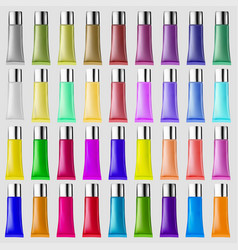 set of plastic tubes of different colors for vector image