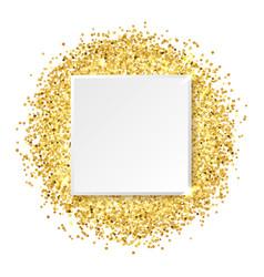 square glitter gold frame vector image vector image