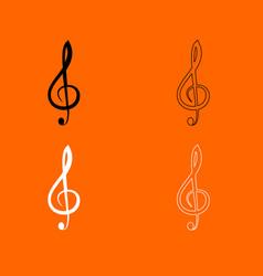 Treble clef black and white set icon vector