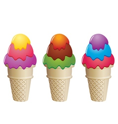 colorful icecream cones vector image vector image