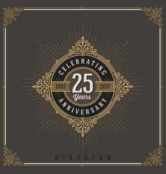 Vintage anniversary logo emblem with flourishes vector
