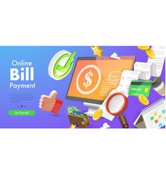 3d conceptual online bill vector image
