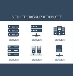 6 backup icons vector image