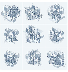 Abstract backgrounds with isometric elements vector