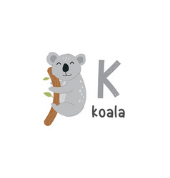 Alphabet letter k and koala vector