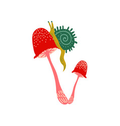 amanita muscaria mushroom with snail fly agaric vector image