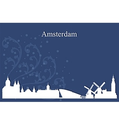 Amsterdam city skyline on blue background vector