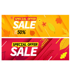 Autumn sale special offer set season discount vector
