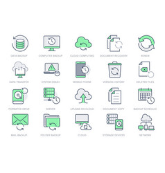 backup line icons vector image
