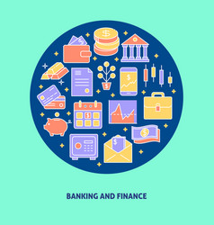 banking and finance round concept in colored line vector image