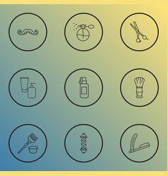 barbershop icons line style set with barber pole vector image