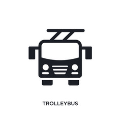 Black trolleybus isolated icon simple element vector