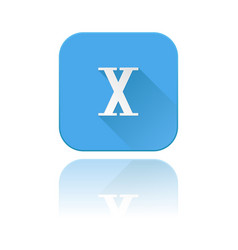 Blue icon with x roman numeral with reflection vector