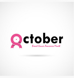 Breast cancer october awareness month vector