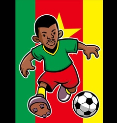 cameroon soccer player with flag background vector image
