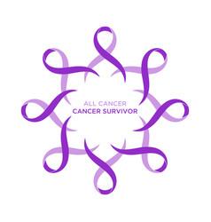 Cancer ribbon lavender or purple color vector