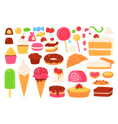 cartoon candy and sweets cupcakes ice cream vector image